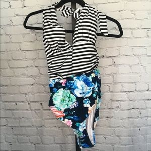 NWT Cupshe One Piece Floral and Stripe Print